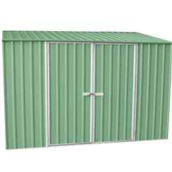 **pre-Order: Due Back In Stock 13th August** Installed 10 X 5 Premier Pale Eucalyptus Metal Garden Shed (3m X 1.52m) *includes Installation