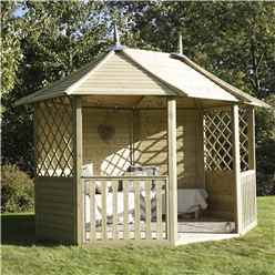 8 8 x 11 9 Pressure Treated Double Trellis Gazebo  (2.6m x 3.5m)