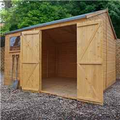 10 X 10 Premium Reverse Apex Workshop With Double Doors And 1 Opening Window (12mm Tongue And Groove Floor And Roof)