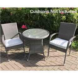 2 Seater MARLOW Bistro Set - 70cm Glass Top Table with 2 Stacking Chairs *does not include cushions