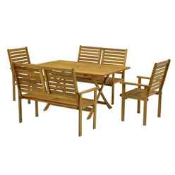 6 Seater Napoli Bench Dining Set With Napoli Table, 2 Benches & 2 Armchairs - Free Next Working Day Delivery (Mon-Fri)