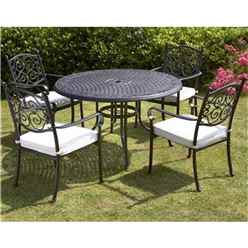 4 Seater Versailles 124cm Round Table With 4 Stacking Chairs Incl. Cushion - Free Next Working Day Delivery (Mon-Fri)