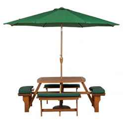 8 Seater - Sacramento Picnic Bench With 4 Seat Cushions - Free Next Working Day Delivery (mon-Fri)