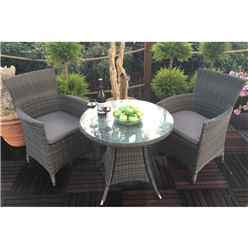 **DISCO 1/5/19** 2 Seater Madison Bistro Set - 70cm Round Table With 2 Classic Chairs Incl. Cushions - Free Next Working Day Delivery (Mon-Fri)