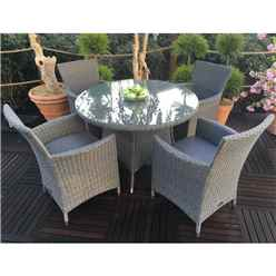 **OOS** 4 Seater Madison Round Dining Set - 110cm Round Table With 4 Carver Chairs Incl. Cushions