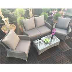 **DISCO 1/5/19** 4 Seater Madison Deluxe Lounge Set 2 Seater Sofa With Coffee Table & 2 X Lounging Armchairs