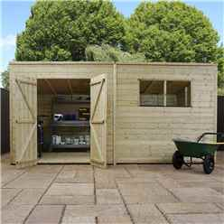 14 x 5 Pressure Treated Tongue and Groove Pent Shed (10mm solid OSB Floor)