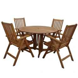 4 Seater Henley Round Dining Set With 4 Manhattan Recliner Chairs - Free Next Working Day Delivery (Mon-Fri)