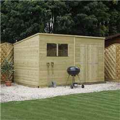 INSTALLED 12 x 5 Pressure Treated Tongue and Groove Pent Shed (10mm solid OSB Floor) INCLUDES INSTALLATION