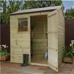 Installed 6 x 4 Pressure Treated Tongue And Groove Reverse Apex Shed - Includes Installation