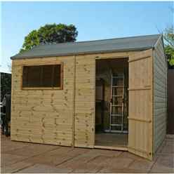 INSTALLED 12 x 8 Pressure Treated Tongue and Groove Reverse Apex Shed - INCLUDES INSTALLATION