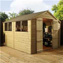 Installed 10 x 8 Pressure Treated Tongue And Groove Apex Shed - Includes Installation