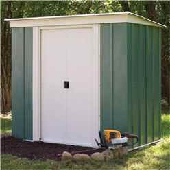 6 x 4 Deluxe Green Metal Pent Shed (1.94m x 1.19m) - Including Floor