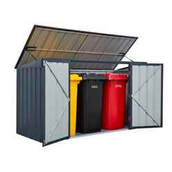 **PRE-ORDER BACK IN STOCK 22ND APRIL 2019** 7 X 3 Triple Bin Store Anthracite Grey (2.33m X 0.95m)
