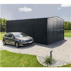 10 x 19 Premier EasyFix - Double Hinged - Metal Garage - Anthracite Grey (3.07m x 5.88m)