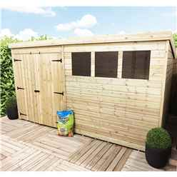 14 x 4 Pressure Treated Tongue And Groove Pent Shed With 3 Windows And Double Doors + Safety Toughened Glass