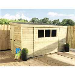 INSTALLED 14 x 4 Reverse Pressure Treated Tongue And Groove Pent Shed With 3 Windows And Safety Toughened Glass And Single Door (Please Select Left Or Right Panel For Door) INSTALLATION INCLUDED
