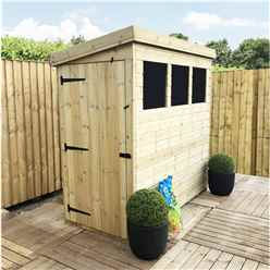 6 x 3 Pressure Treated Tongue And Groove Pent Shed With 3 Windows And Side Door + Safety Toughened Glass