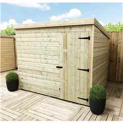 7 X 3 Windowless Pressure Treated Tongue And Groove Pent Shed With Single Door