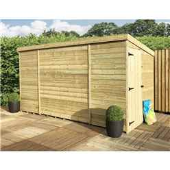14 X 6 Windowless Pressure Treated Tongue And Groove Pent Shed With Side Door