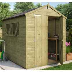 8ft x 6ft Pressure Treated Hobbyist Tongue and Groove Shed with 2 Opening Windows and Double Doors