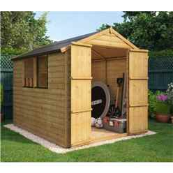 8 x 6 Loglap Shed with 2 Windows and Double Doors