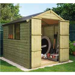 8 x 6 Pressure Treated Loglap Shed with 2 Windows and Double Doors