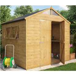 8ft x 8ft Hobbyist Tongue and Groove Shed with 2 Opening Windows and Double Doors