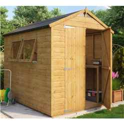 8ft x 6ft Hobbyist Tongue and Groove Shed with 2 Opening Windows and Double Doors
