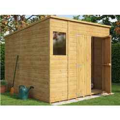 8 x 8 Shiplap Pent Shed with Double Doors and 1 Window