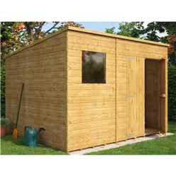 10 x 8 Shiplap Pent Shed with Double Doors and 1 Window