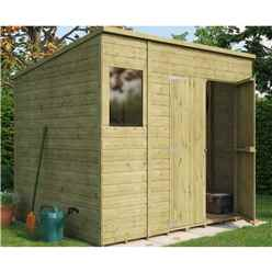 8 x 6 Pressure Treated  Shiplap Pent Shed with Double Doors and 1 Window