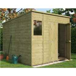 8 x 8 Pressure Treated  Shiplap Pent Shed with Double Doors and 1 Window