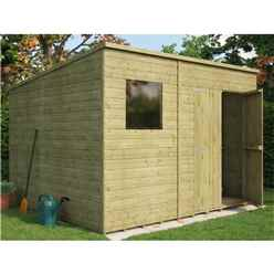10 x 8 Pressure Treated Shiplap Pent Shed with Double Doors and 1 Window