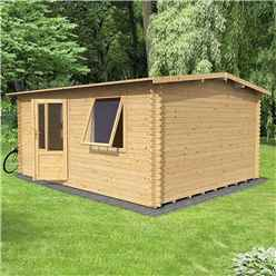 4m x 3m Home Office Exclusive Log Cabin (Single Glazing) + Free Floor & Felt & Safety Glass (34mm Tongue And Groove Logs)