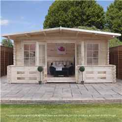5m x 3m (5m x 4m With Veranda)  Woburn Log Cabin (Single Glazing) + Free Floor & Felt & Safety Glass (28mm Tongue And Groove Logs) + Veranda (1m)