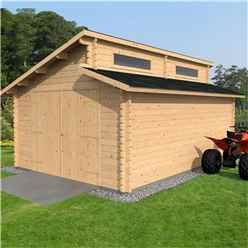 4m x 5.6m Premier Pent Garage Log Cabin (44mm Tongue And Groove) - Double Glazing