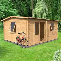 4m x 3m Vermon Log Cabin (Single Glazing) + Free Floor & Felt & Safety Glass (44mm Tongue And Groove Logs)
