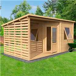 5m x 3m Corner Cabin With Side Cabin - Single Glazing (34mm Tongue And Groove Logs)