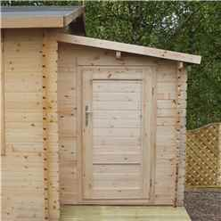 2.24m x 1.62m Log Cabin Side Shed + Free Floor (28mm Tongue And Groove Logs)