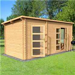 5.4m x 2.5m Pent Log Cabin With Side Cabin - Single Glazing (34mm Tongue And Groove Logs)