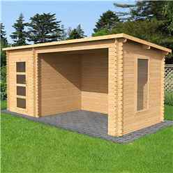 5.4m X 2.5m Pent Log Cabin With Open Space - Single Glazing (34mm Tongue And Groove Logs)