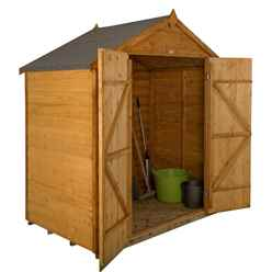 Installed 6 X 4 Overlap Dip Treated Apex Shed - Double Doors Includes Installation