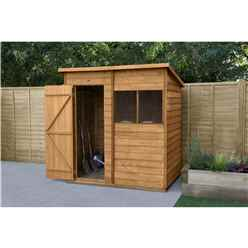 INSTALLED 6ft x 4ft Overlap Dip Treated Pent Shed - Single Door (1.8m x 1.3m) - Modular - INCLUDES INSTALLATION - CORE