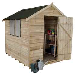 8ft x 6ft Overlap Apex Wooden Garden Shed - Onduline Roof (2.4m x 1.9m)