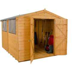 INSTALLED 10ft x 8ft Shiplap Dip Treated Apex Shed with Double Doors (3.1m x 2.5m) - INCLUDES INSTALLATION