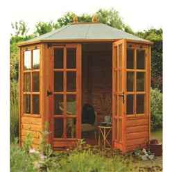 INSTALLED Deluxe 8 x 6 Octagonal Summerhouse (12mm Tongue And Groove Floor) INCLUDES INSTALLATION
