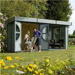 INSTALLED 4.79m x 2.39m Deluxe Connor Painted Log Cabin (19mm Tongue And Groove Floor And Roof) INCLUDES INSTALLATION