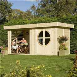 INSTALLED 4.79m x 2.39m  Deluxe Connor Unpainted Log Cabin (19mm Tongue And Groove Floor And Roof) INCLUDES INSTALLATION