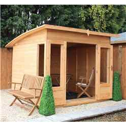 10 x 8 Premier Curved Pent Wooden Garden Summerhouse (12mm Tongue And Groove Floor And Roof) - 48hr + Sat Delivery*